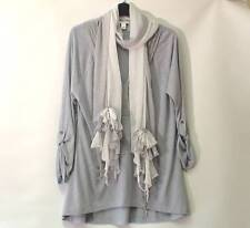 BANANA REPUBLIC Grey Dip Hem Quirky Tunic Top Adjustable Sleeves & Scarf Size L