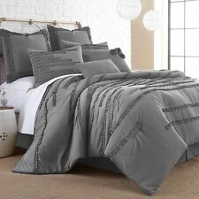 Luxurious 8 Piece Comforter Set Bedding King Size Bed in a Bag Gray Bedspread