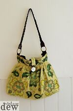 WHISTLES embroidered HAND BAG green TIE DYE  BOHO embellished lagenlook leather