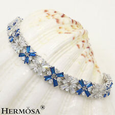 Hermosa AAA Sapphire White Topaz Light 925 Sterling Silver Bracelets 7""