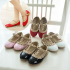 Princess Girls Kids New Charming Sandals Rivet Buckle T-strap Flat Shoes Gift