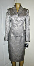 ❤️ NEW LE SUIT ELEGANT STERLING SILVER SATINY SUIT SZ 10P SKIRT/BLAZER------#14