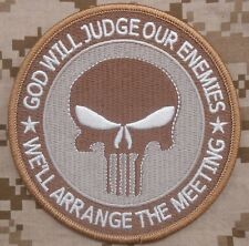 """GOD WILL JUDGE OUR ENEMIES USA ARMY PUNISHER MORALE DESERT ARID IRON ON PATCH 4"""""""