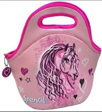 Spencil PINK HORSE Girls Kids Children Insulated LUNCH Box Bag Storage Picnic