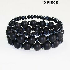 3 Piece Black Wooden and Crystal Beaded Stretch Bracelets