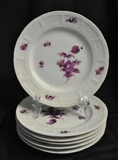 Nymphenburg 6 Plate Set Plum Purple Floral Pattern Hand Painted  6 1/4 inches