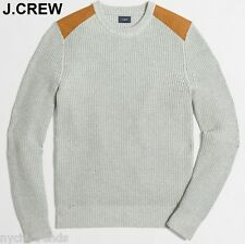 New J.CREW sweater shoulder patch military rifle guard gray grey cotton neck L