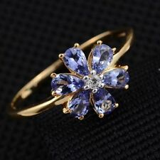 Violet Tanzanite & Zircon Flower 14K Y Gold/925 Ring Size M/N