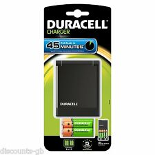 Duracell 45 Min Fast Battery Charger Inc. x2 AA + x2 AAA Rechargeable Batteries