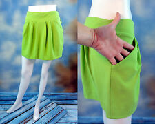 RETAIL $225 DIANE von FURSTENBERG Electric Lime pleated knit mini skirt SZ: 10