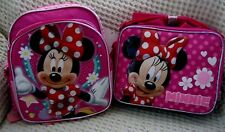 Minnie Mouse w/ Bow Ties Backpack and Matching Minnie Mouse Lunchbox Disney-New!