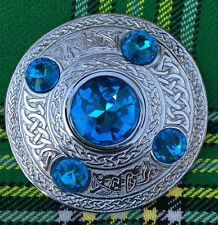 "Highland Kilt Fly Plaid Brooch Sky Blue Stone  4""/Scottish Kilt Fly Plaid Brooch"