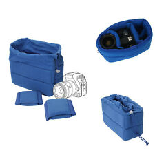 Shockproof DSLR SLR Camera Bag Partition Padded Insert Protection Case Blue New