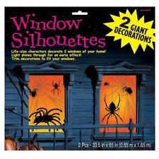 Halloween Large Spider Silhouette Glowing Window Decorations x 2