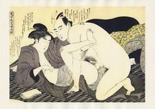 Japanese Reproduction Woodblock Print Shunga Style 11 Erotic  A4 Parchment Paper