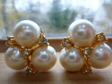 Christian Dior Faux Pearls Crystals Earrings Clip On Backs Gold Plate Signed