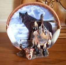 Guiding Spirits SOUL OF THE WARRIOR 3D Sculpture Native American Indian Wolf MIB