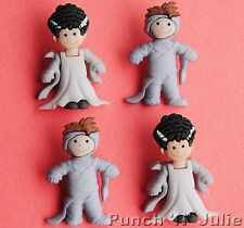 MUMMY BOY & BRIDE OF FRANKENSTEIN - Halloween Fancy Dress It Up Craft Buttons