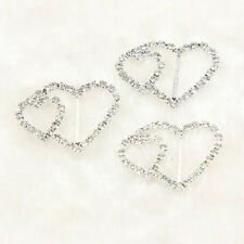 10 Pcs Silver Buckle Ribbon Sliders Heart Rhinestone Crystal Invitation Wedding