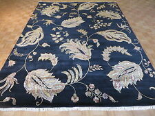 9 x 12 HAND KNOTTED BLACK AGRA WITH SILK ORIENTAL RUG G3103