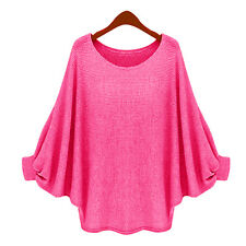 Women Long Sleeve Oversized Chunky Sweater Batwing Baggy Jumper Tops Blouse 8-16