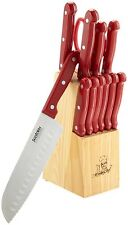 "Masterchef 13pc 7"" RED Santoku Knife Cutlery Set w/Block and Steak Knives NEW"