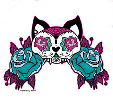 COOL WHITE CAT MEXICAN SUGAR SKULL TATTOO STYLE PINK& BLUE ROSES STICKER/ DECAL