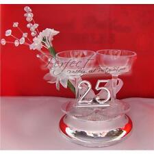 25th Silver Wedding Anniversary Cake Topper Decoration Champagne Glass Design