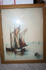 Antique 1905 Watercolor Painting  sail boat Sailing Ships old wavey glass Signed