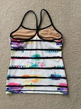 LULULEMON Paint Splatter Black White Multi-Color Racerback Athletic Top 8 EUC
