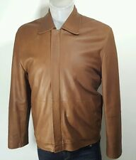 Remus uomo mens luxury tan leather jacket size 38 fits like medium