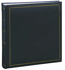 Classic Library Photo Album - Navy with Black Pages - Traditional Plain Pages