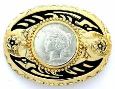 Gold Color Oval Western REAL 1922 Peace Silver Dollar Belt Buckle epbb56