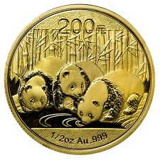 2013 1/2 oz Gold Chinese Panda Coin - Sealed in Plastic