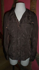 Size M Light Weight Brown Zip Front Reporter Jacket in Polyester by Siberian