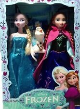 "Disney Frozen Queen Elsa & Princess Anna 12"" Barbie Doll 2pcs Set Olaf Included!"