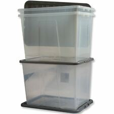 2 x 80L 80 Litre XXL Large Plastic Storage Clear Box Strong Stackable Container
