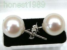 TOP PERFECT ROUND 9MM AAA+++ WHITE AKOYA PEARLS EARRING 14k WHITE GOLD