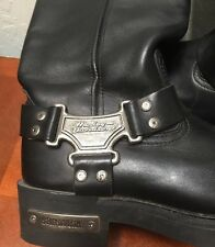 Women's Harley Davidson Black Buckle Calf Leather Boots HD Motorcycle