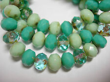 25 beads - 8x6mm Pacific Turquoise Mix #2 Czech Firepolished Rondelle beads