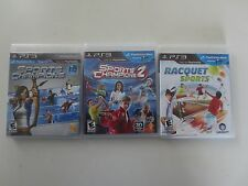 Lot of 3 ps3 Move Games Sports Champions 1 and 2 + Racquet Sports