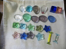 Blown glass paperweights Lotus Crystal Shell,stars,cubes, pyramids 20 pieces