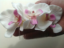 Rockabilly 50s Pinup Bridal White Pink Triple Orchid hair flower comb fascinator