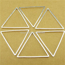 13766 15PCS Copper Silver Geometric Triangle Pendant Connector Jewelry Making