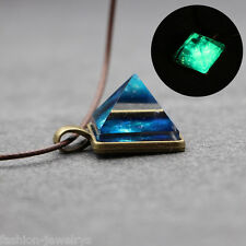 Charm Luminous Steampunk Pyramid Star Pattern Glow In The Dark Pendant Necklace