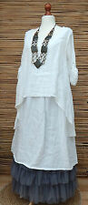 "LAGENLOOK LINEN LAYERING QUIRKY BOHO LONG DRESS*WHITE*BUST UP TO 46""SIZE L"