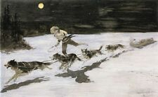 Remington Oil Painting repro Huskie Dogs on the Frozen Highway