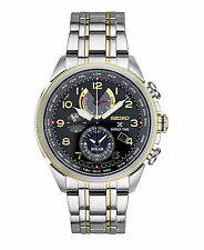 Seiko Men's Prospex Solar World Time Chronograph Two-Tone Steel Watch SSC508