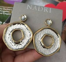 """Nadri earrings 1.8"""" 14K Gold plated Gold & Silver Colors 100% Authentic NEW110"""
