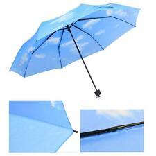 Beautiful Blue Sky Cloud Anti UV 3 Folding Parasols Sun Protection Rain Umbrella